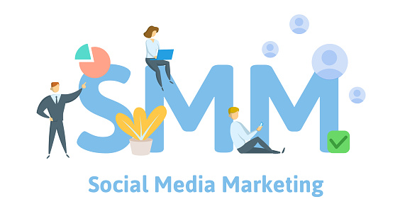 1125605742 istock photo SMM, social media marketing technology. Concept with keywords, letters, and icons. Flat vector illustration. Isolated on white background. 1126672822