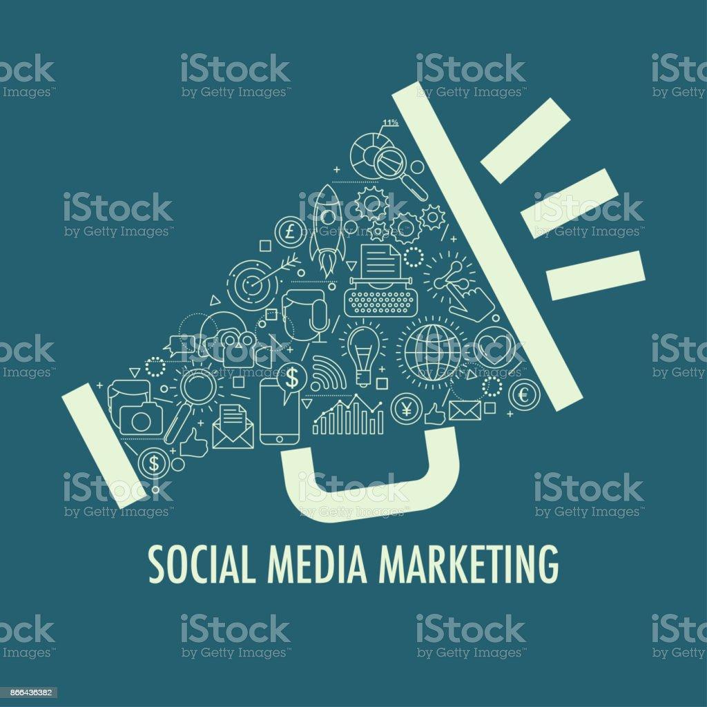 Social Media Marketing template - Grafika wektorowa royalty-free (Bez ludzi)