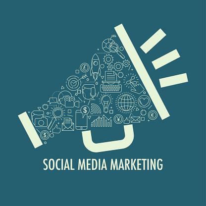Social Media Marketing Template - Stockowe grafiki wektorowe i więcej obrazów Bez ludzi