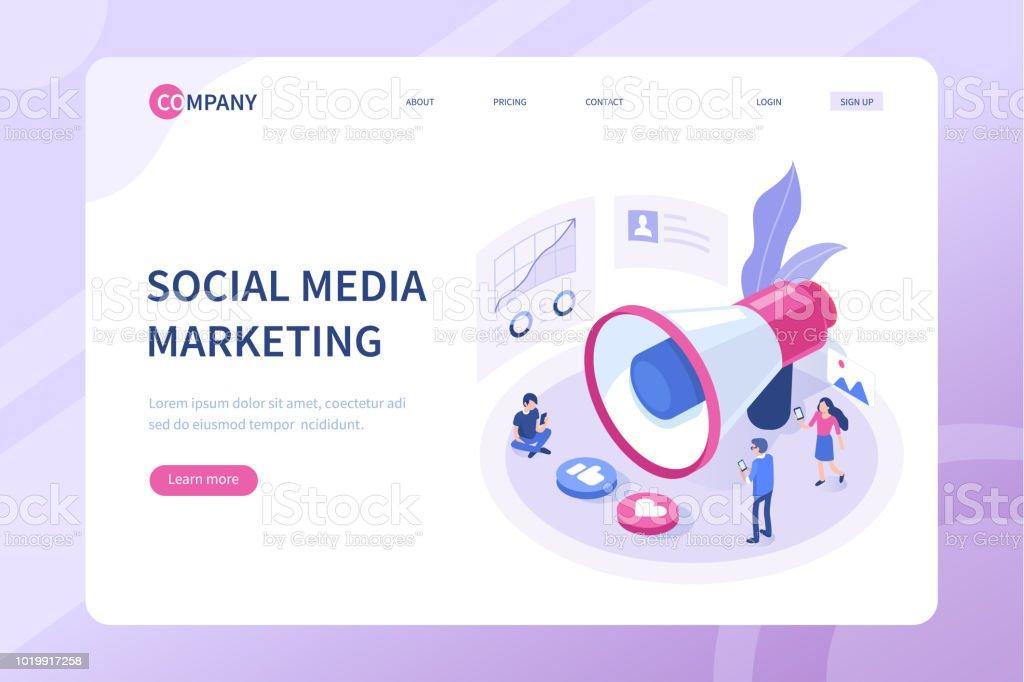 Mídia social marketing - ilustração de arte em vetor