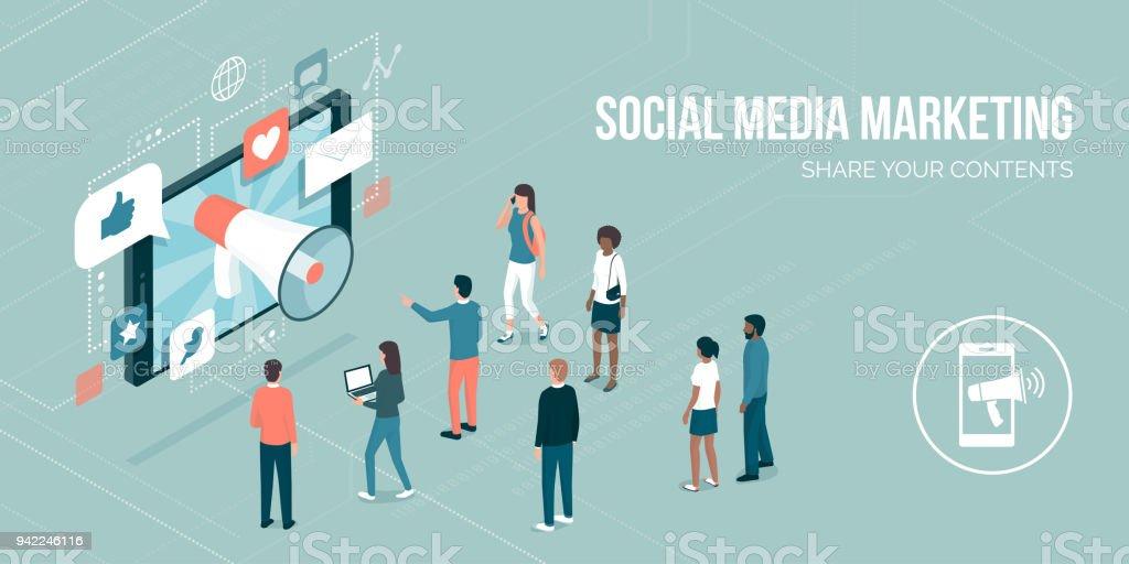 Social media marketing vector art illustration