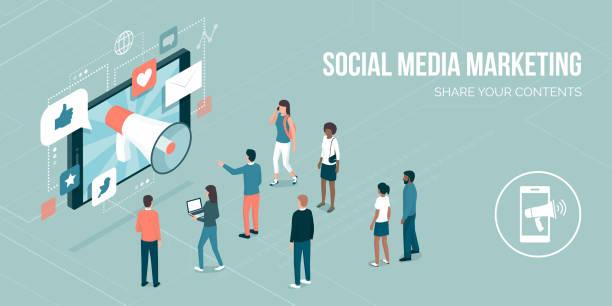social media marketing - digital marketing stock illustrations