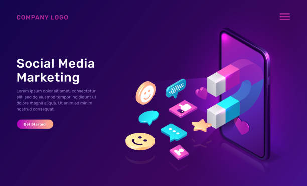 Social media marketing, viral mms isometric Social media marketing, viral mms, vector isometric concept. 3D mobile phone screen with large magnet attracting social media content icons, like and followers, chat messages, ultraviolet app web page digital marketing stock illustrations