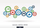 Social media mechanism concept. Vector abstract background