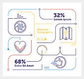 Vector Infographic Line Design Elements for Social Media