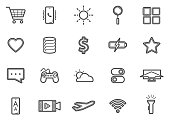 Social Media Mobile Applications and Network Line Icons Set 02