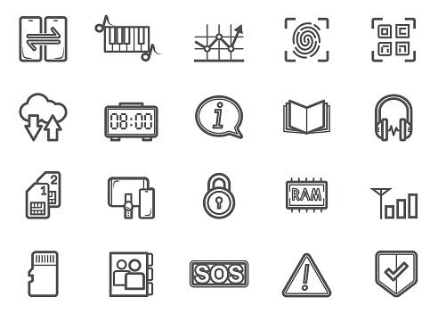 Social Media Mobile Applications and Network Line Icons Set 03