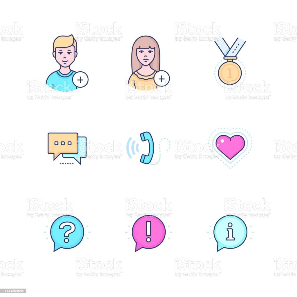 Les médias sociaux-moderne ligne Design style icônes ensemble - Illustration vectorielle