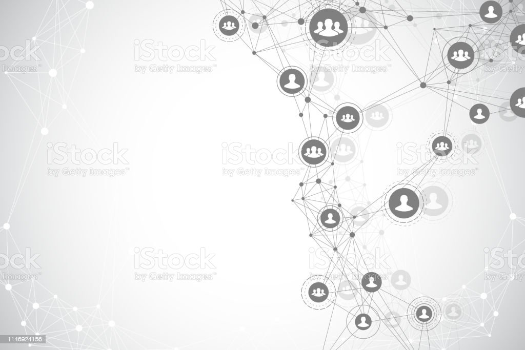 Social media network and marketing concept background. Global...