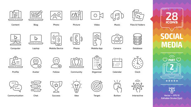 social media network editable stroke outline icon set part 2 with global internet digital technology, computer, laptop and mobile device, web content: blog, photo, picture, video and music line sign. - group of people stock illustrations