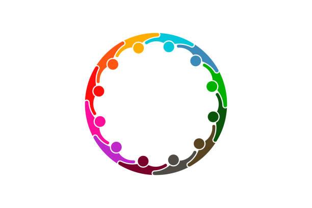 ilustrações de stock, clip art, desenhos animados e ícones de social media network people logo - twelve persons - future hug