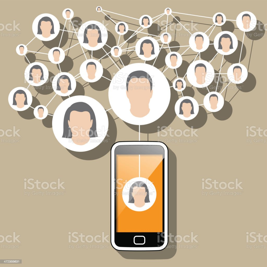 Social Media Network - SmartPhone connected royalty-free stock vector art