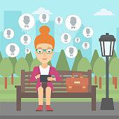 A woman sitting on a bench in the park and holding a tablet computer with many avatar icons above vector flat design illustration. Square layout.
