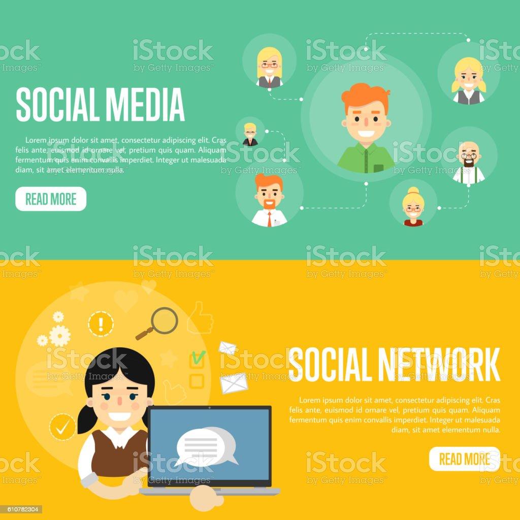 Social Media Network Website Templates Stock Vector Art More