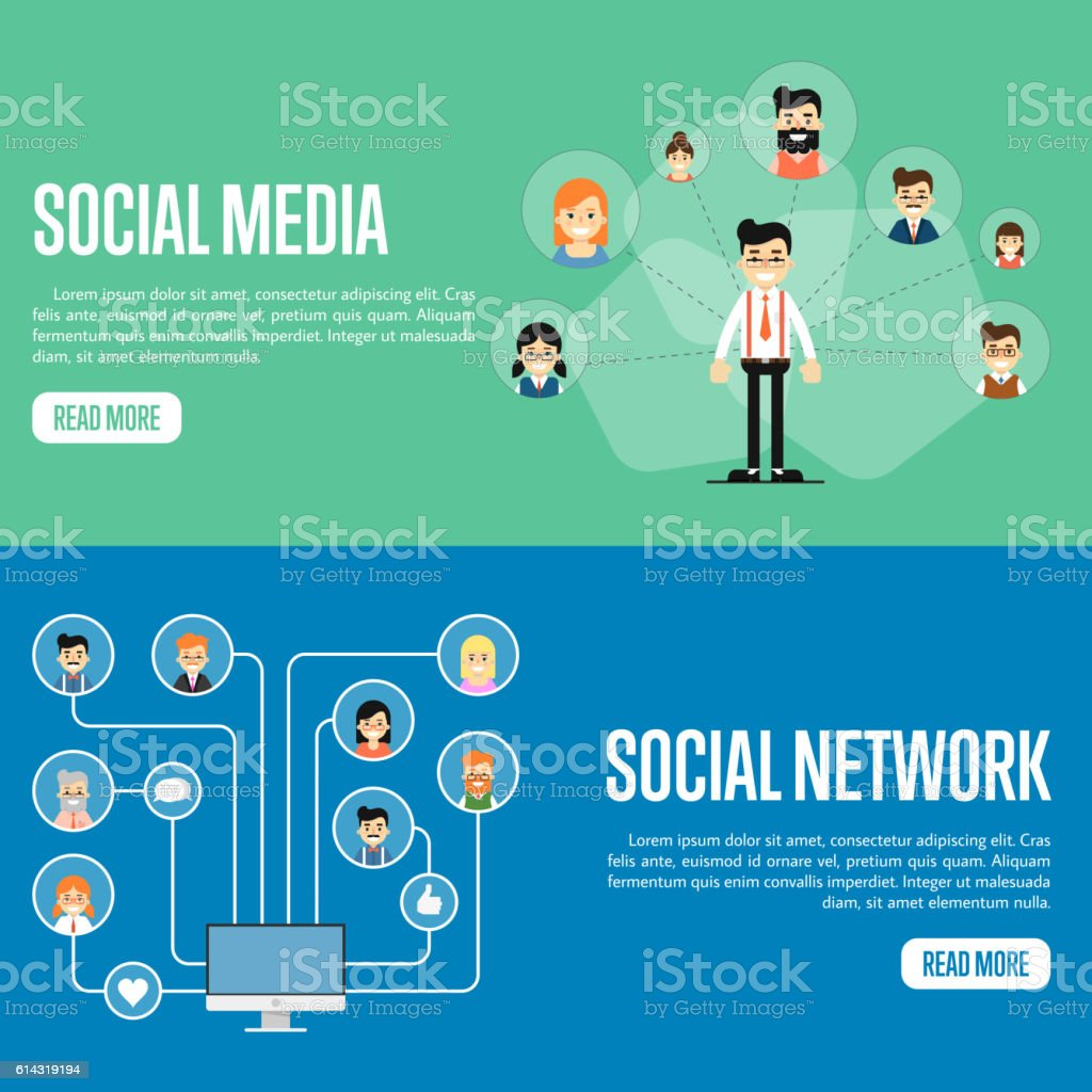 social media network website templates stock vector art more
