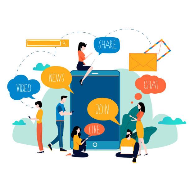 Social media, networking, chatting, texting, communication, online community vector art illustration
