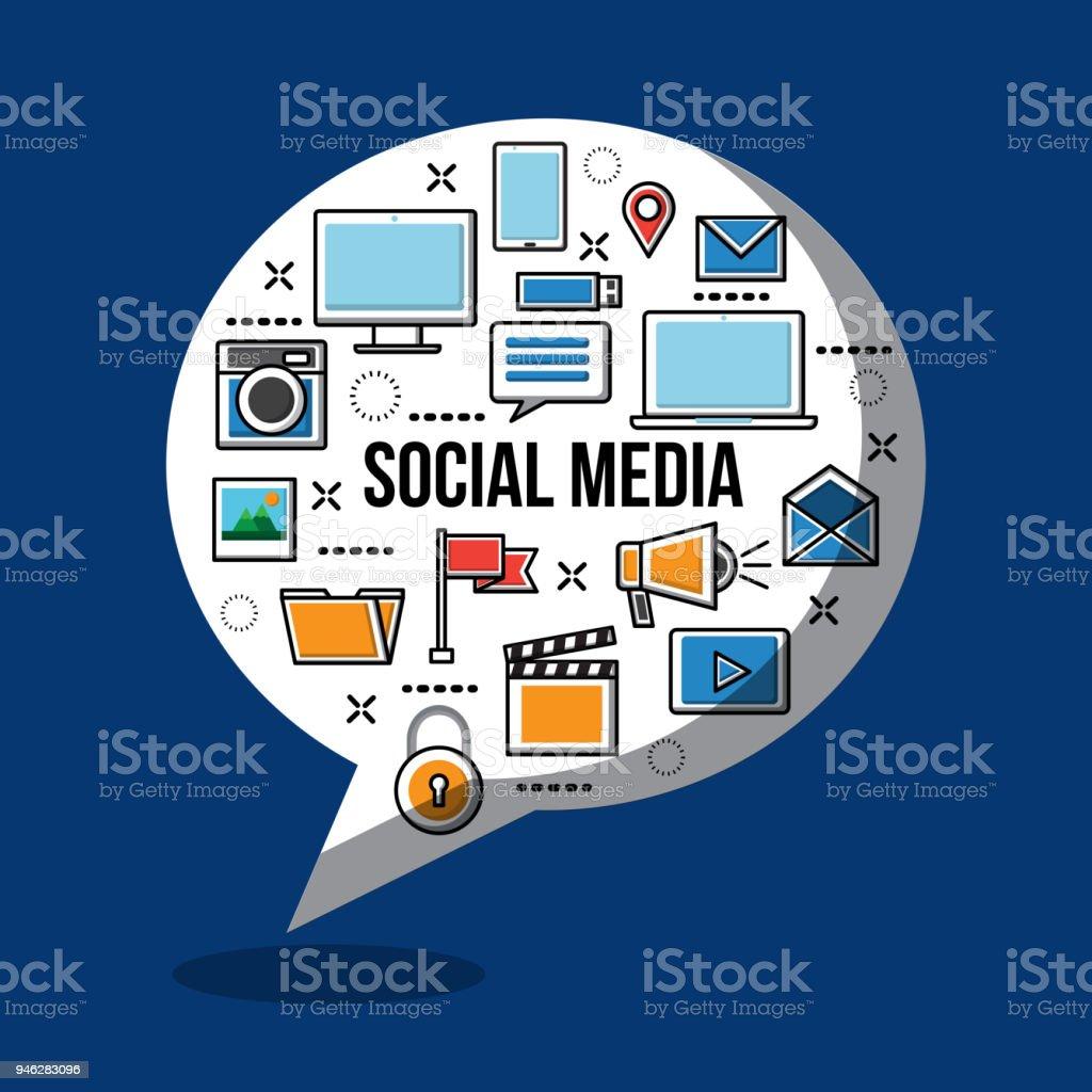 social media networks vector art illustration