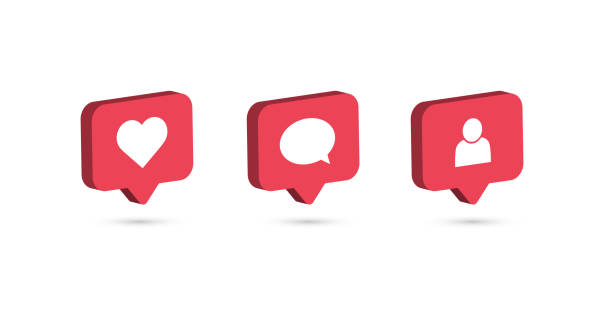 social media notification icon. follow, comment, like icon. instagram notification icon. vector illustration - instagram stock illustrations