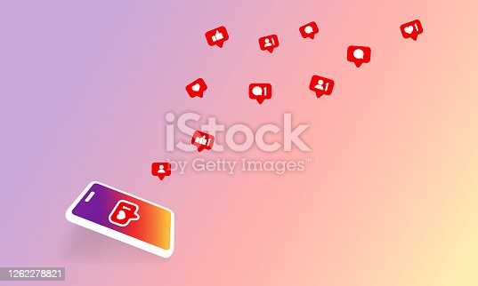 Social media notification icon. Follow, like, new comments symbol. Social networking. Vector on isolated background. EPS 10.