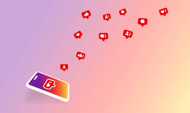 ikona powiadomień w mediach społecznościowych. postępuj zgodnie z nowym symbolem komentarzy. społecznościowych. wektor na odizolowanym tle. eps 10 - instagram stock illustrations