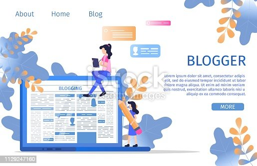 Social Media Online Blogger Business Character. Creative Copywriter hold Pencil at Laptop to Write Essay Content. Blogging Writer Edit Blog Storytelling Post Banner Flat Cartoon Vector Illustration