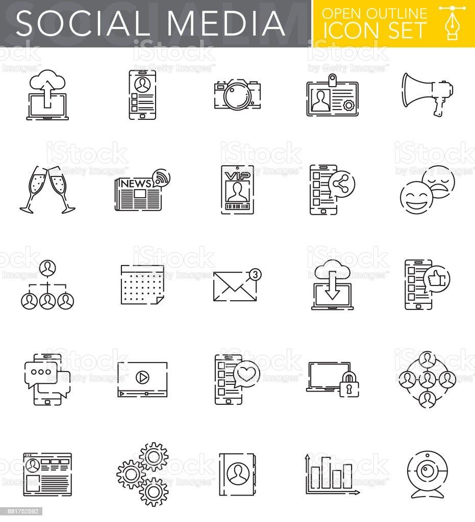 Conjunto de iconos de contorno abierto redes sociales estilo de diseño plano - ilustración de arte vectorial