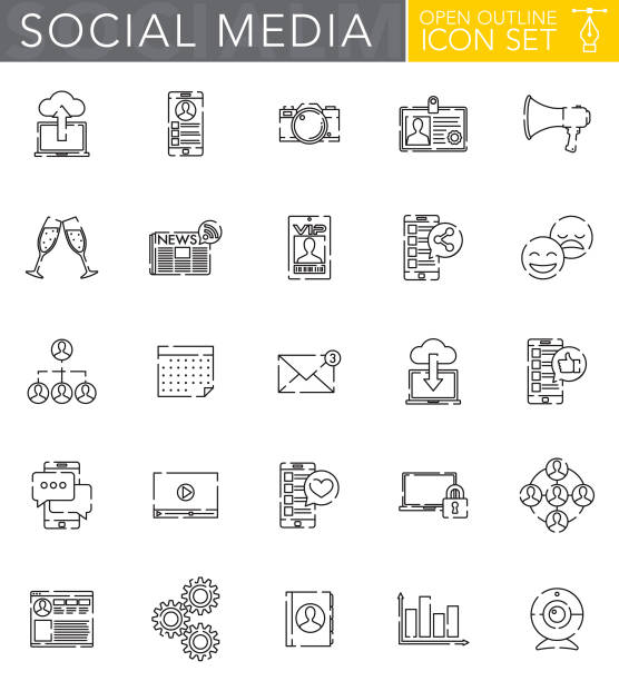 social media open outline icon set in flat design style - thin line icons stock illustrations, clip art, cartoons, & icons