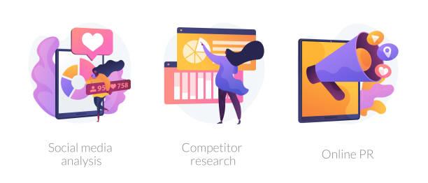 ilustraciones, imágenes clip art, dibujos animados e iconos de stock de metáforas del concepto de optimización de redes sociales. - social media