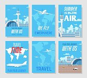 Tour Agency Presentation. Social Media or Print World Travel Cards Set. Flyers with Sales and Discounts on Airline Tickets Proposition. Invitation and Greeting Posters. Vector Flat Illustration