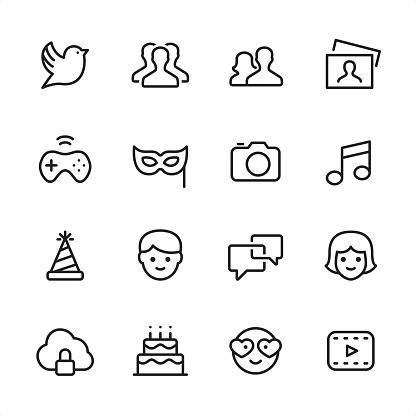 Social Media - outline icon set