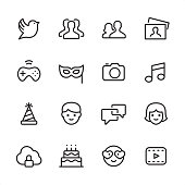 16 line black and white icons / Set #43 / Social Media Pixel Perfect Principle - all the icons are designed in 48x48pх square, outline stroke 2px.  First row of outline icons contains:  Bird, Group of People (Team), Men and Women icon (Couple), Photography;  Second row contains:  Gamepad, Mask - Disguise, Camera - Photographic Equipment, Musical Note;  Third row contains:  Party Hat, Males, Speech Bubble, Females;   Fourth row contains:  Cloud Security icon, Birthday Cake, Love emoticon, Film Play icon.  Complete Inlinico collection - http://www.istockphoto.com/collaboration/boards/2MS6Qck-_UuiVTh288h3fQ