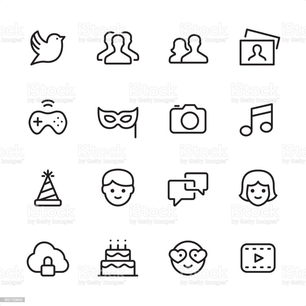 Social Media - outline icon set vector art illustration