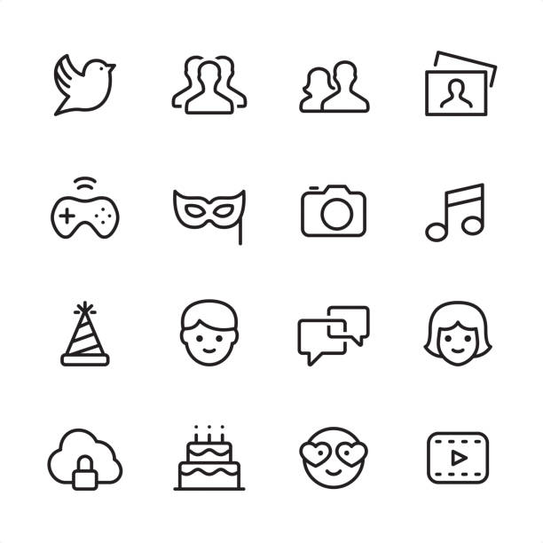 Social Media - outline icon set 16 line black and white icons / Set #43 / Social Media Pixel Perfect Principle - all the icons are designed in 48x48pх square, outline stroke 2px.  First row of outline icons contains:  Bird, Group of People (Team), Men and Women icon (Couple), Photography;  Second row contains:  Gamepad, Mask - Disguise, Camera - Photographic Equipment, Musical Note;  Third row contains:  Party Hat, Males, Speech Bubble, Females;   Fourth row contains:  Cloud Security icon, Birthday Cake, Love emoticon, Film Play icon.  Complete Inlinico collection - http://www.istockphoto.com/collaboration/boards/2MS6Qck-_UuiVTh288h3fQ bird symbols stock illustrations