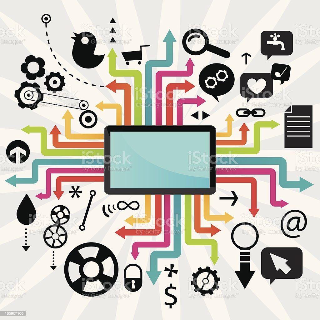 Social Media PC Tablet royalty-free stock vector art