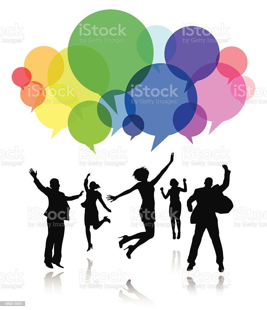 Social Media People Celebration vector art illustration