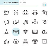 20 Outline Style - Black line - Pixel Perfect icons / Set #41 / Social Media / Icons are designed in 48x48pх square, outline stroke 2px.  First row of outline icons contains: Bird icon, Males, Group of People, Females, Photography;  Second row contains: Megaphone, Speech Bubble, Musical Note, Gamepad, Camera - Photograhic Equipment;  Third row contains: Party Hat, Mask - Disguise, Wireless, Envelope icon, Men and Women icon;   Fourth row contains: Thumbs Up, Cloud security icon, Birthday Cake, Love emoticon, Film Play icon.  Complete Primico collection - https://www.istockphoto.com/collaboration/boards/NQPVdXl6m0W6Zy5mWYkSyw