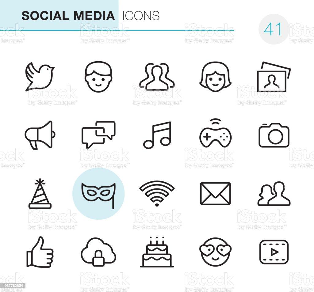 Social Media - Pixel Perfect icons vector art illustration