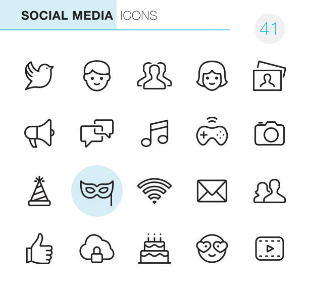 Social Media - Pixel Perfect icons 20 Outline Style - Black line - Pixel Perfect icons / Set #41 / Social Media / Icons are designed in 48x48pх square, outline stroke 2px.  First row of outline icons contains: Bird icon, Males, Group of People, Females, Photography;  Second row contains: Megaphone, Speech Bubble, Musical Note, Gamepad, Camera - Photograhic Equipment;  Third row contains: Party Hat, Mask - Disguise, Wireless, Envelope icon, Men and Women icon;   Fourth row contains: Thumbs Up, Cloud security icon, Birthday Cake, Love emoticon, Film Play icon.  Complete Primico collection - https://www.istockphoto.com/collaboration/boards/NQPVdXl6m0W6Zy5mWYkSyw bird icons stock illustrations