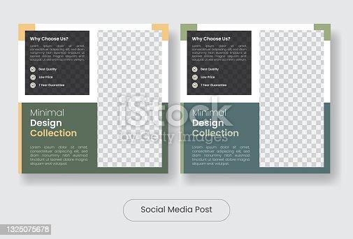 Social media post banner template set for furniture sale.