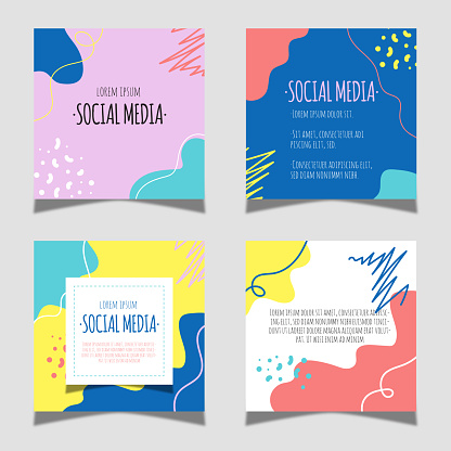Social media post collection. Geometric shapes and colorful design.