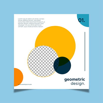 Social media post in minimal style for art gallery geometric shapes.