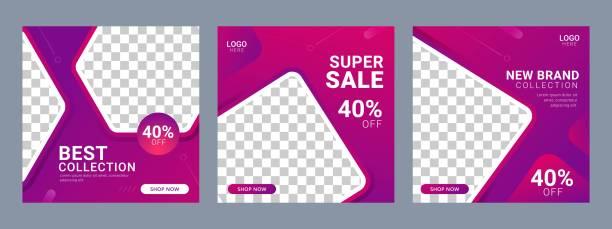 bildbanksillustrationer, clip art samt tecknat material och ikoner med social media post square banner mall för produktmarknadsföring - social media post template