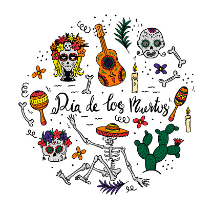 social media post square cards with sugar skulls for Mexican national holiday Day of the dead. Festive banner templates for Dia de los muertos . Vector flat illustration.