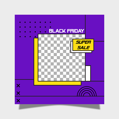 Social media post template. Black friday concept and geometric background.,
