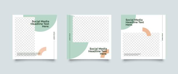 bildbanksillustrationer, clip art samt tecknat material och ikoner med social media post mall samling - social media post template
