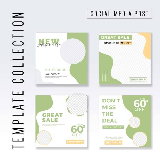 bildbanksillustrationer, clip art samt tecknat material och ikoner med sociala medier post mall design - social media post template