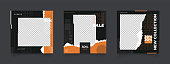 social media post template for digital marketing and sale promo. modern fashion advertising. black orange and white monochrome banner. mockup photo frame vector illustration.