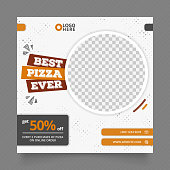 social media post template for food promotion. web banner for pizza burger and fast food. white grey orange color simple banner frame