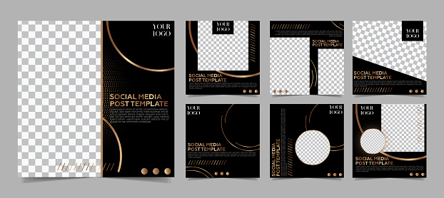 Social media post template - Modern dark and gold colors minimalist luxury background.