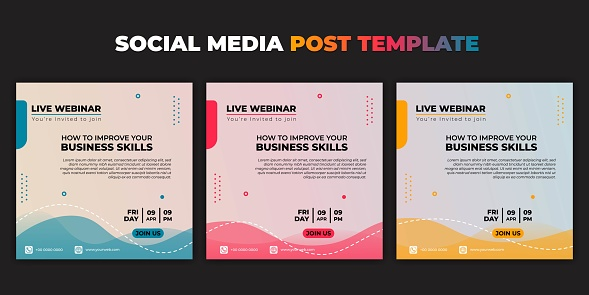 Social media post template. Set of Social media with color choice design. Vector illustration of Webinar invitation banner.